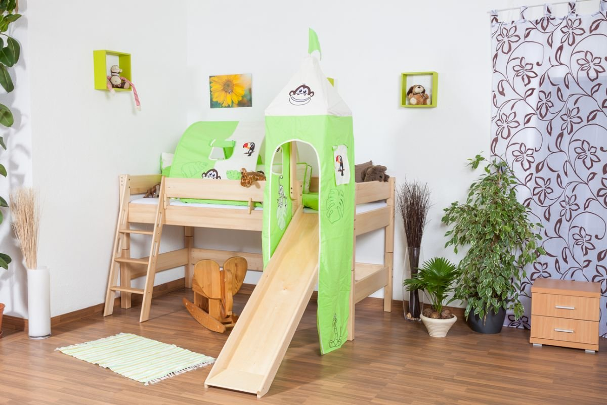 Kinderbett Hochbett Tom Mit Rutsche Und Turm Inkl. Rollrost   Material:  Buche Massiv Natur, Farbe: Klar Lackiert: Amazon.de: Baumarkt