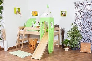 Hochbett Für Kinder Mit Rutsche Und Turm   Buche Natur Massivholz 90x200 Cm