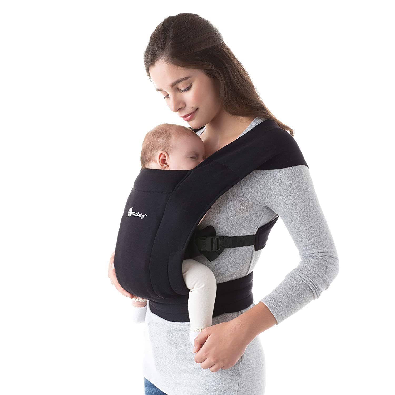 Ergobaby Embrace Baby Wrap Carrier, Infant Carrier for Newborns 7-25 Pounds, Pure Black