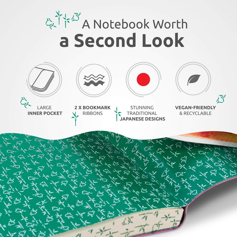 plano y con cuadr/ículas para llevar un diario ZenART Diario de piel sint/ética con puntos cuaderno con colores vivos con bordes con motivos japoneses tama/ño B5 17,8 x 25,4 cm