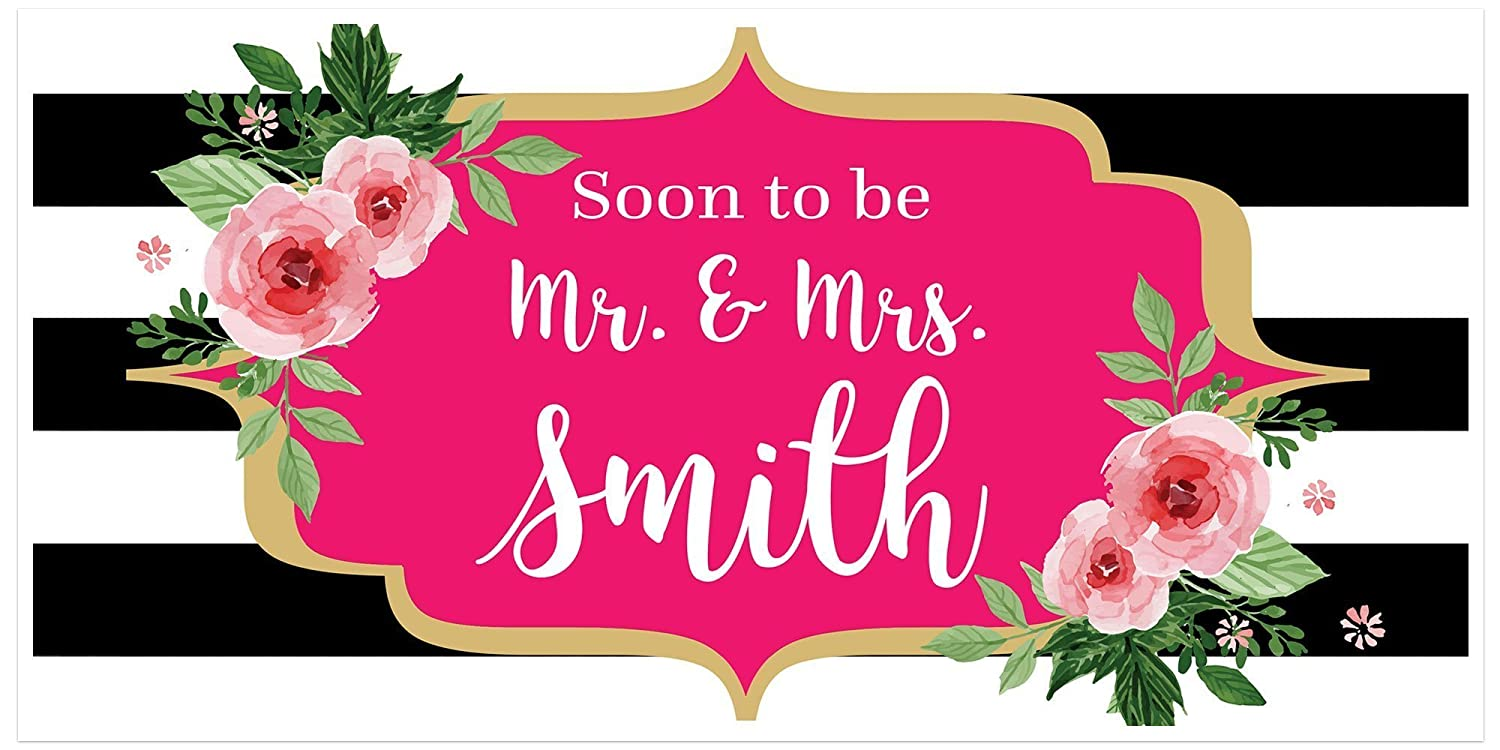 Vintage Black And White Engagement Banner Personalized Party Backdrop