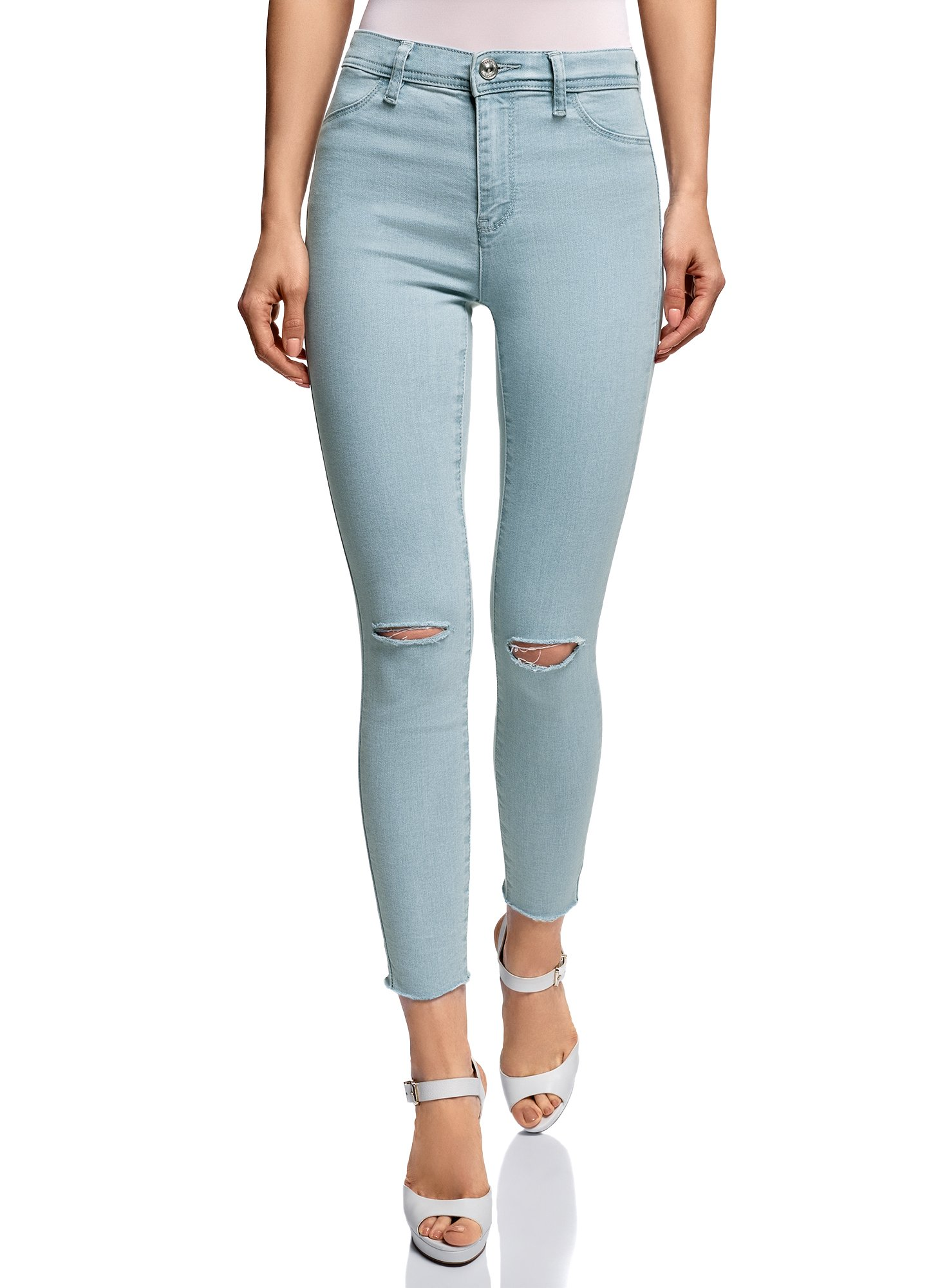 oodji Ultra Women's Skinny Jeans with Ripped Knees, Blue, 27W/30L (US 4/EU 38/S)