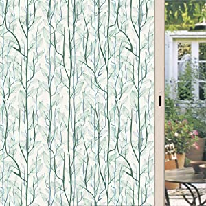 DKTIE Static Cling Decorative Window Film Vinyl Non Adhesive Privacy Film,Stained Glass Window Film for Bathroom Shower Door Heat Cotrol Anti UV 35.4In.by 78.7In.