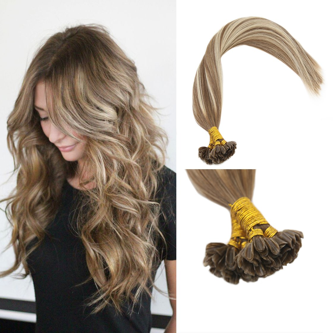 Amazon Sunny 16 Pre Bonded Human Hair Extensions Balayage