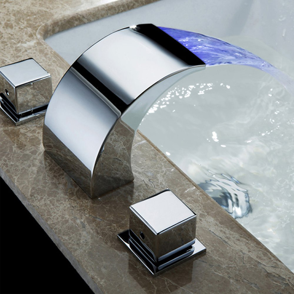 Modern 3 color changing LED waterfall basin mixer tap brass chrome ...