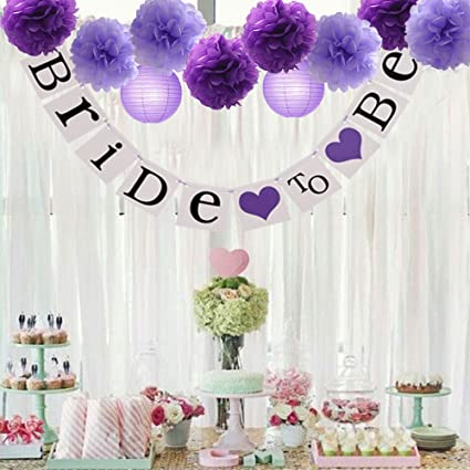 d8c481cc2e3  quot Bride to Be quot  wedding Banner Tissue Paper Flowers Pom Poms Mixed  Paper Lanterns