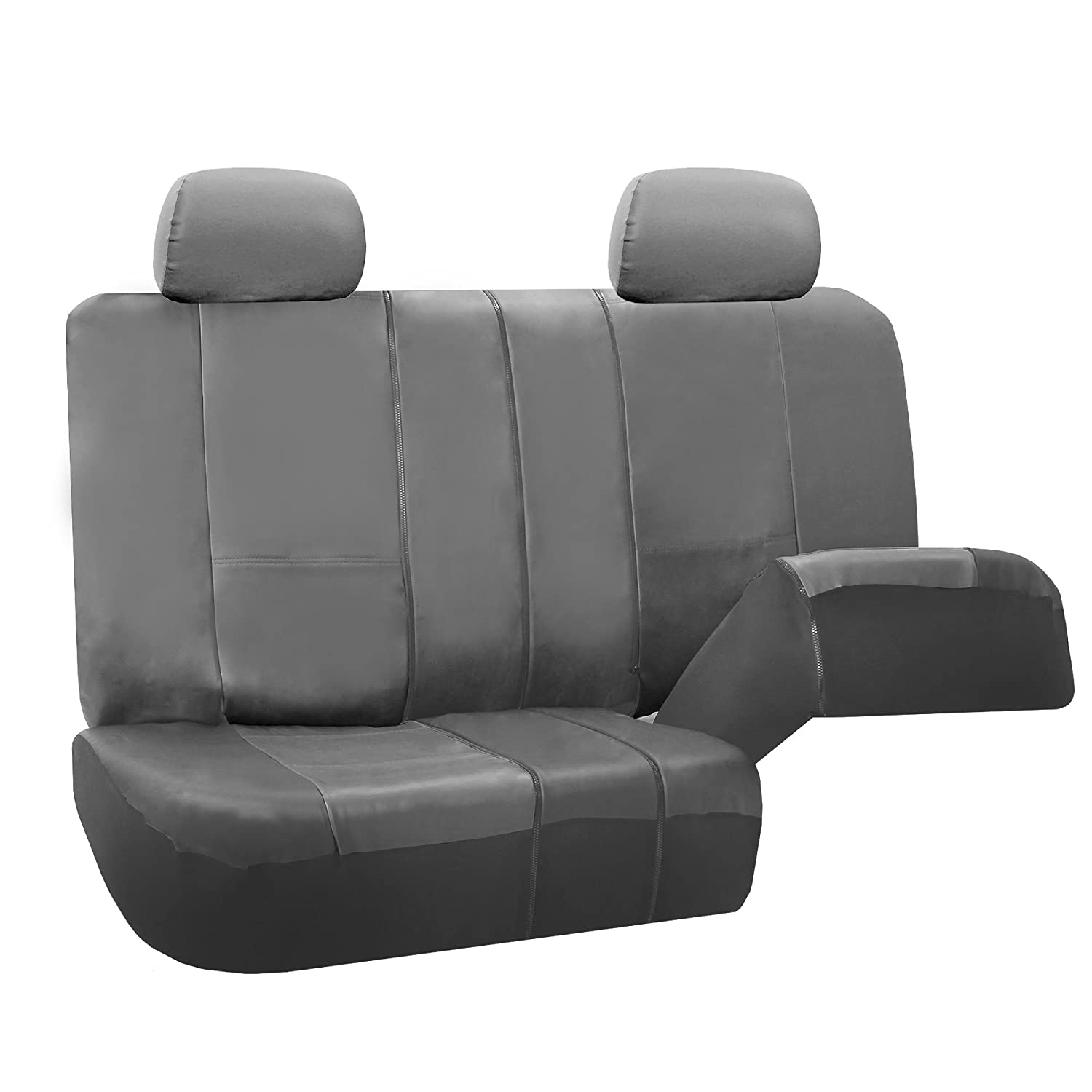 FH-PU002114 Classic PU Leather Car Seat Covers Airbag compatible and Split Bench Solid Grey color FH Group