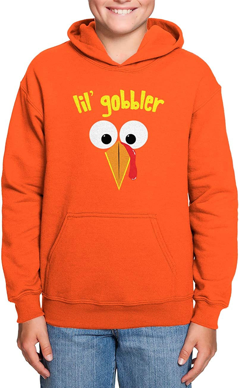Turkey Face Thanksgiving Toddler//Youth Fleece Hoodie Haase Unlimited Lil Gobbler