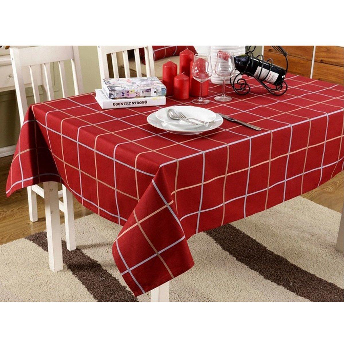 barato en línea rojo 140X140 Mantel Europeo Clásico Algodón Ropa De Mesa Mesa Mesa Café Cuadros Mantel Estilo Británico Menaje Universal Paño Mantel,rojo-140X140  el mas reciente
