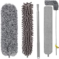 Feather Duster with 3 Brush Head 2.5 Meters' Extra Long Extension Pole, Bendable Extendable Duster for Cleaning High…
