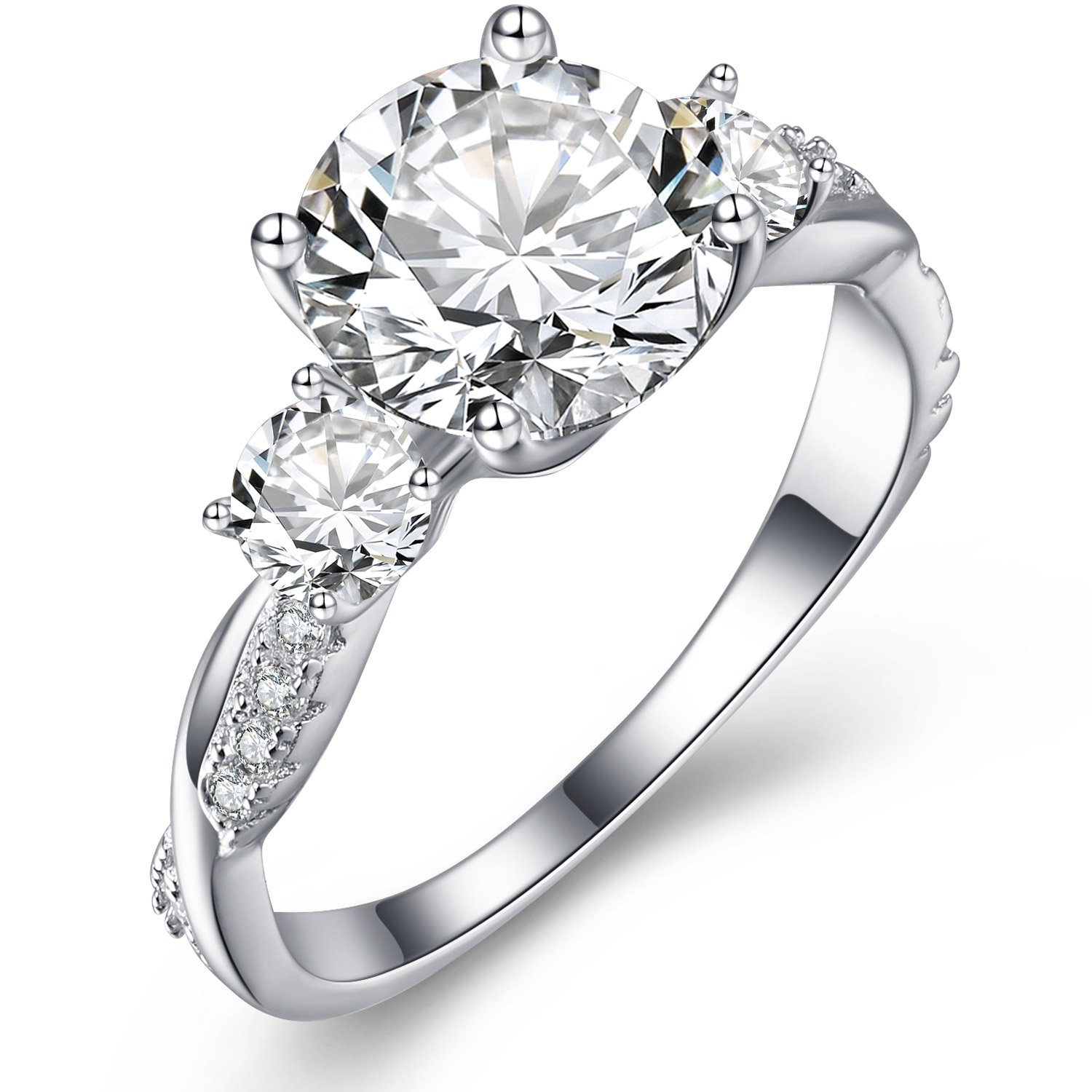 Vibrille Sterling Silver Twisted Vine Round Three Stone Cubic Zirconia Engagement Ring for Women Size 10