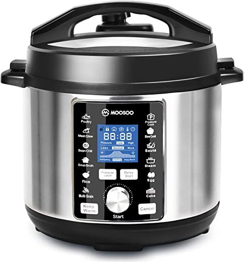 MOOSOO 13-in-1 Electric Pressure Cooker, 6QT Instant One-Touch, Stainsteel Slow Cooker, Steamer, Saute,11 Accessories and Recipes