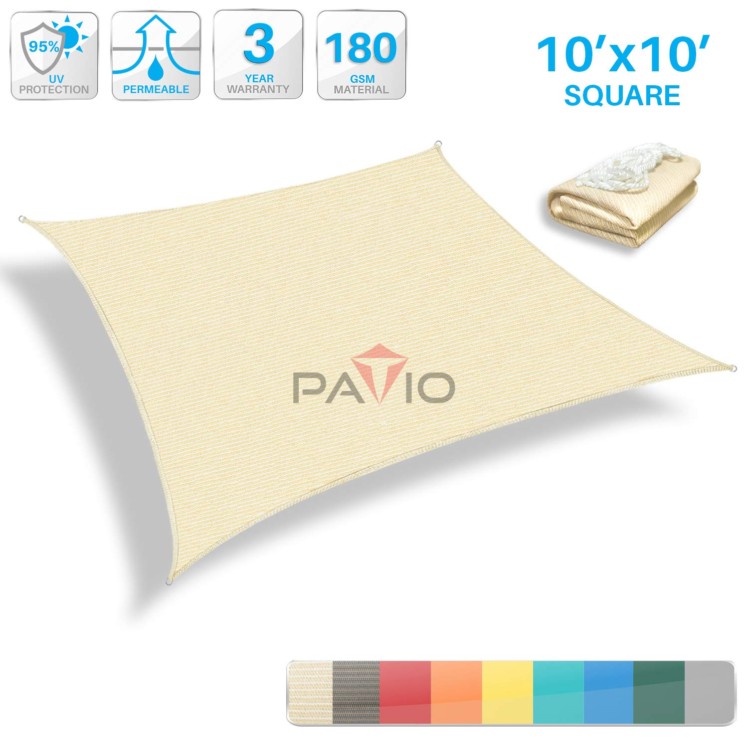Patio Paradise 10' x 10' Tan Beige Sun Shade Sail Square Canopy - Permeable UV Block Fabric Durable Outdoor - Customized Available by Patio