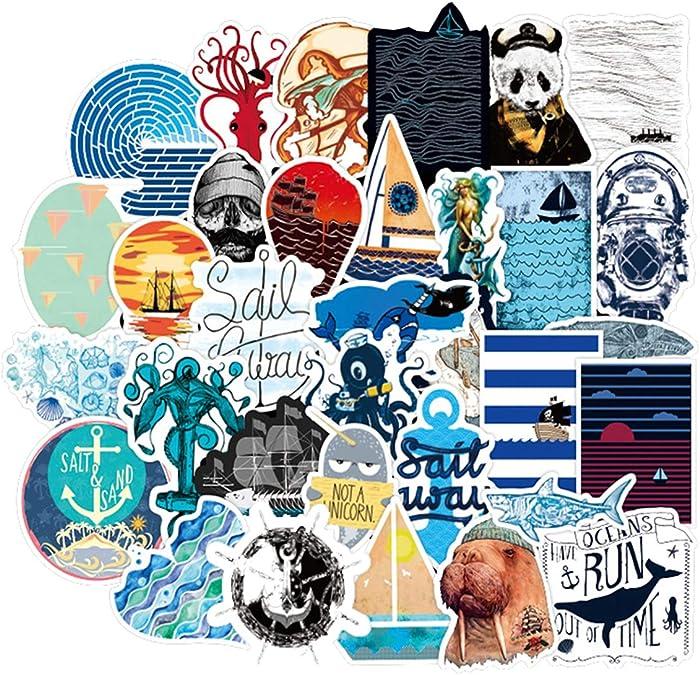 Sea Exploration Ocean Sailing Stickers 50pcs, Diving, Sea Anmals Sailboat Vinyl Decals, Laptop Stickers, Water Bottle, Bumper Car Stickers (Sea Exploration)