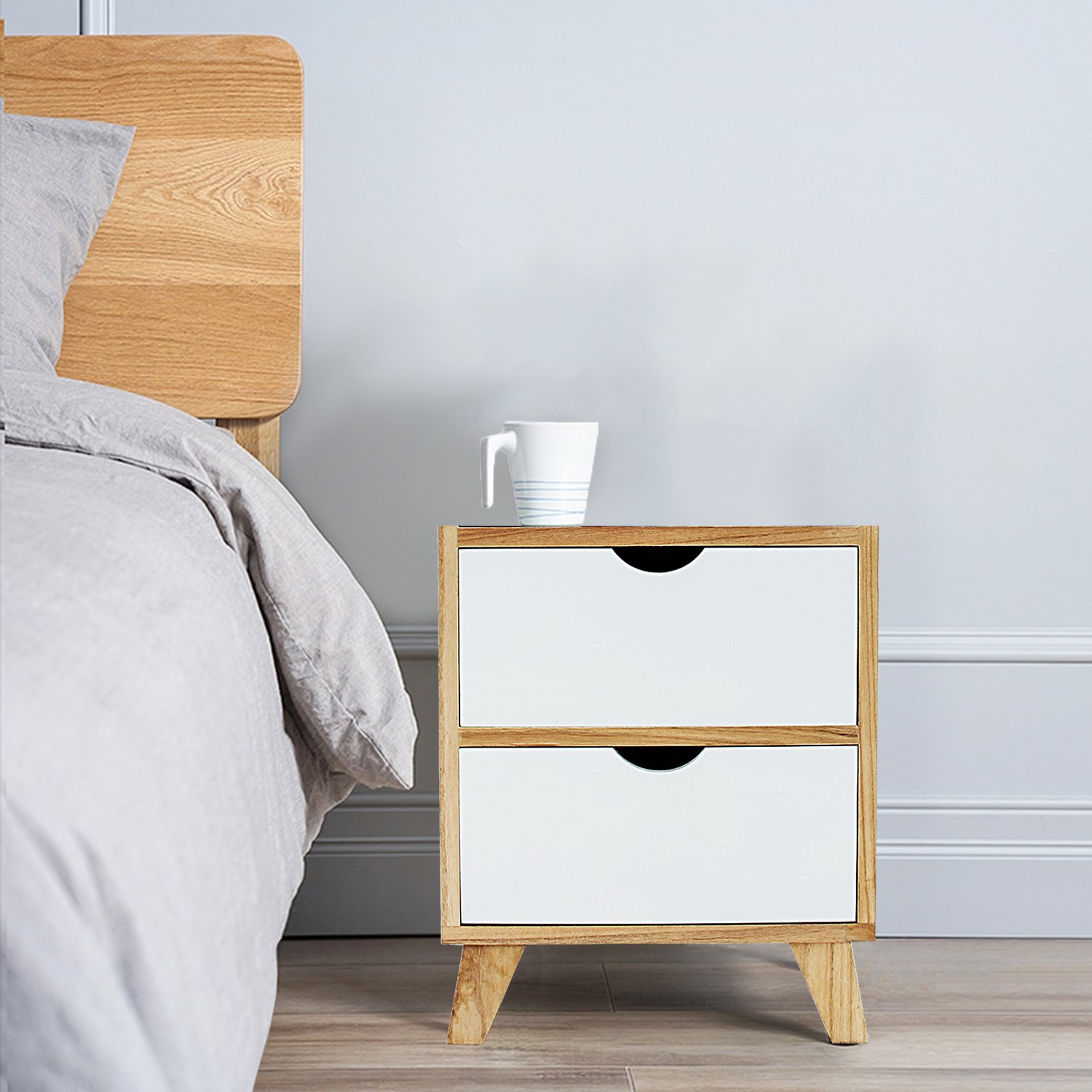 Jerry & Maggie - Nightstand - 2 Tier Curving Pattern Sides Night Stand Storage Bedside Table with 2 Drawer Real Natural Paulownia Wood (2 Tier   Cubric Style) by Jerry & Maggie (Image #1)