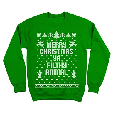 960bc84a5a8 Merry Christmas Ya Filthy Animal Ugly Christmas Sweater Contest Party Xmas  Mens Sweatshirt Small Green