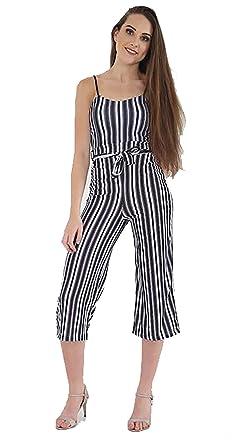 3c7c2ff98c Women Ladies Stripe Cropped Culotte Jumpsuit Playsuit Belt Waist Strappy  Party 8-16 (10