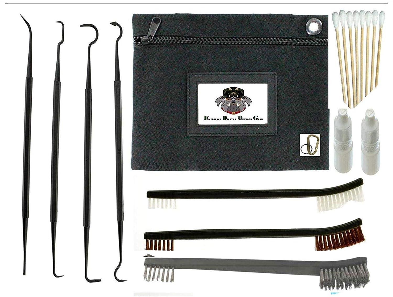 "EDOG 19 PC Gun Rifle Pistol Cleaning Essentials Organizer Bag Set Double Ended Brush & Pick Set | 4 Nylon Slant Hook Picks | 3 Different 7"" Brushes | Cotton Swabs | Empty Lube, Oil or Solvent Bottles"