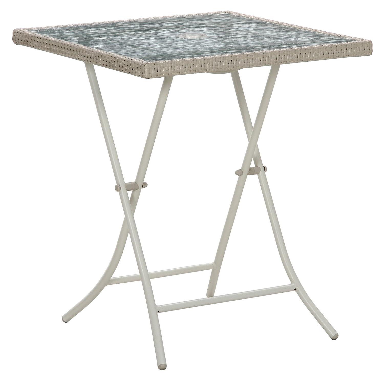 不二貿易 PEラタンフォールディングガラステーブル ホワイト 95683 B00BCU03M2