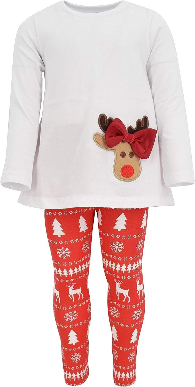Amazon.com: Unique Baby Girls 3 pieza de reno Bow Outfit con ...