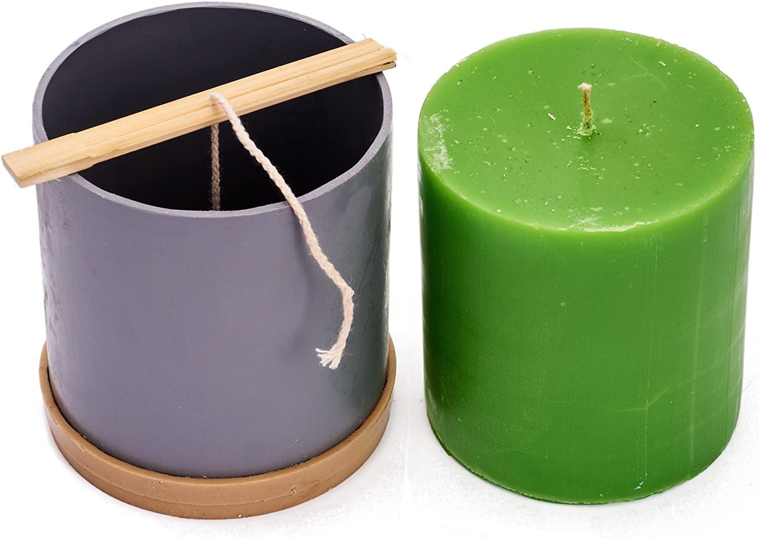 СYlinder Mold - Height: 4.3 In, Width: 3.9 bei - 30 Ft. von Wick Included wie ein Gift - Plastic Candle Molds für Making Candles