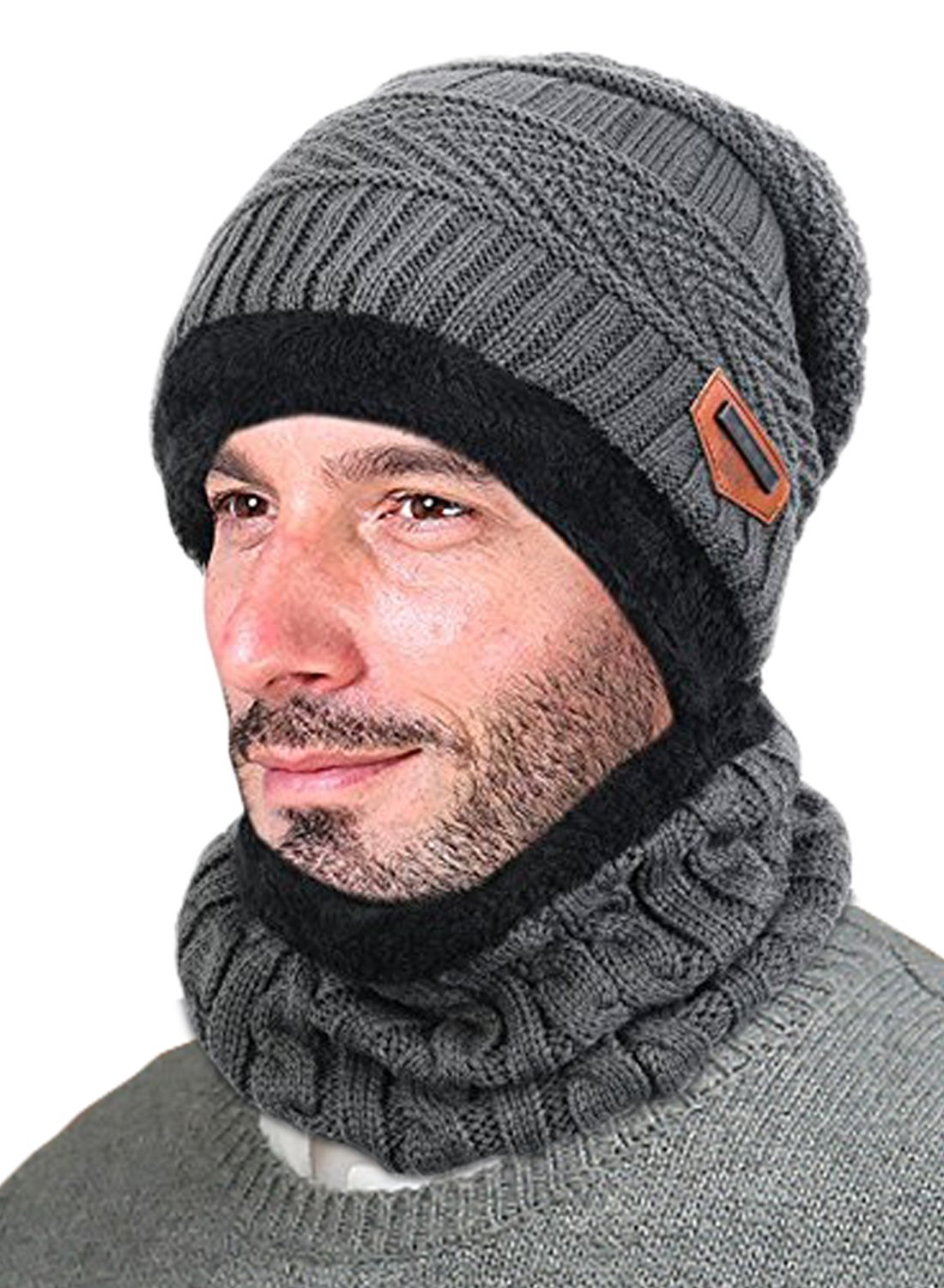 T-wilker Beanie Hat Scarf Set Chunky Soft Stretch Cable Warm Thick Knit Hat Fleece lining Tough Headwear (Grey)