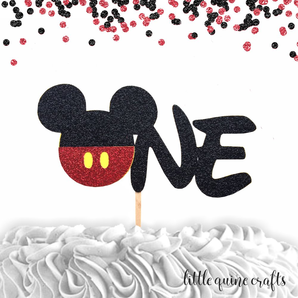 1 pc ONE Mickey Mouse Head Red Black Glitter Cake Topper for first Birthday Baby boy