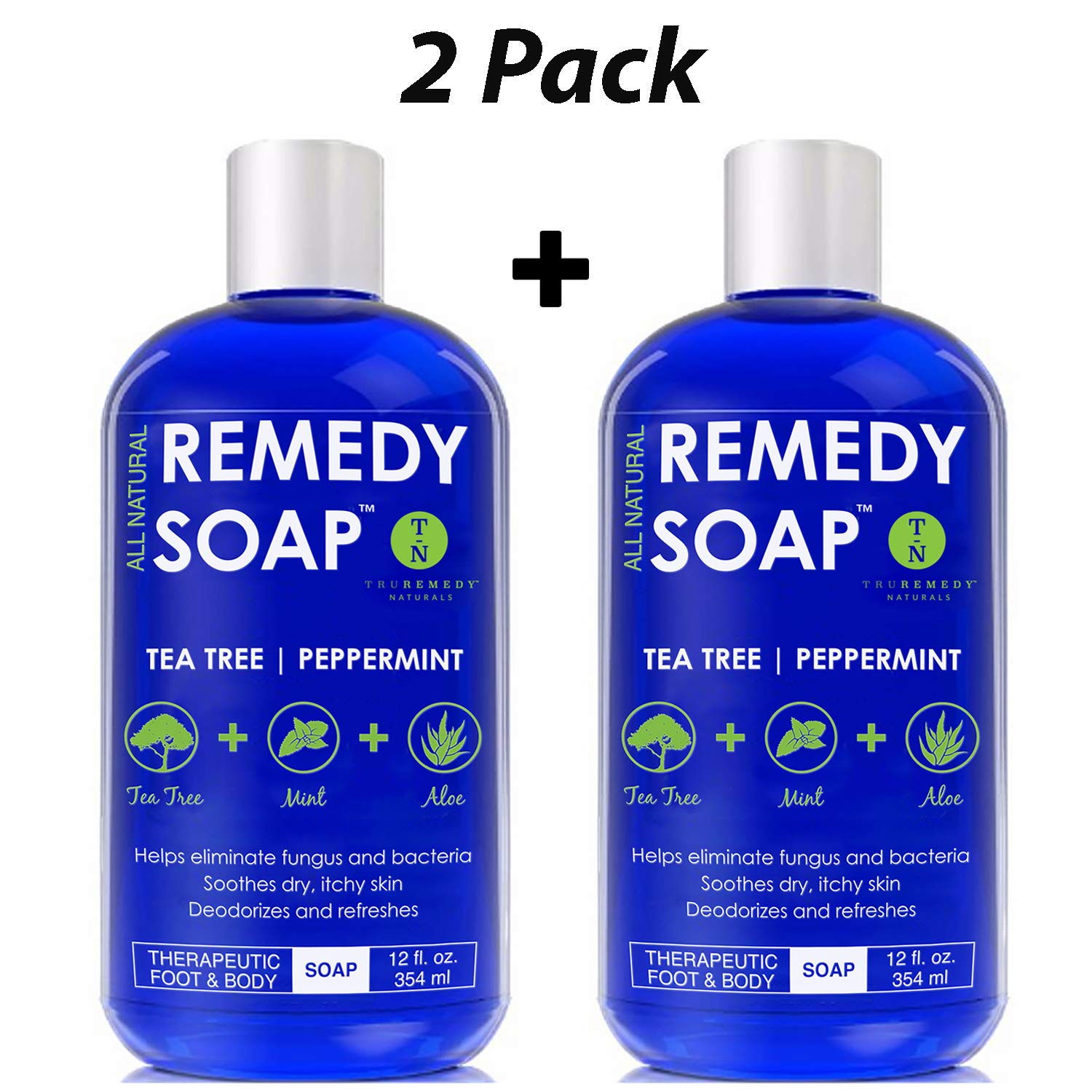 Remedy Soap Pack of 2, Helps Wash Away Body Odor, Sooth Athlete's Foot, Ringworm, Jock Itch, Yeast Infections and Skin Irritations. 100% Natural with Tea Tree Oil, Mint & Aloe 12 oz by Truremedy Naturals