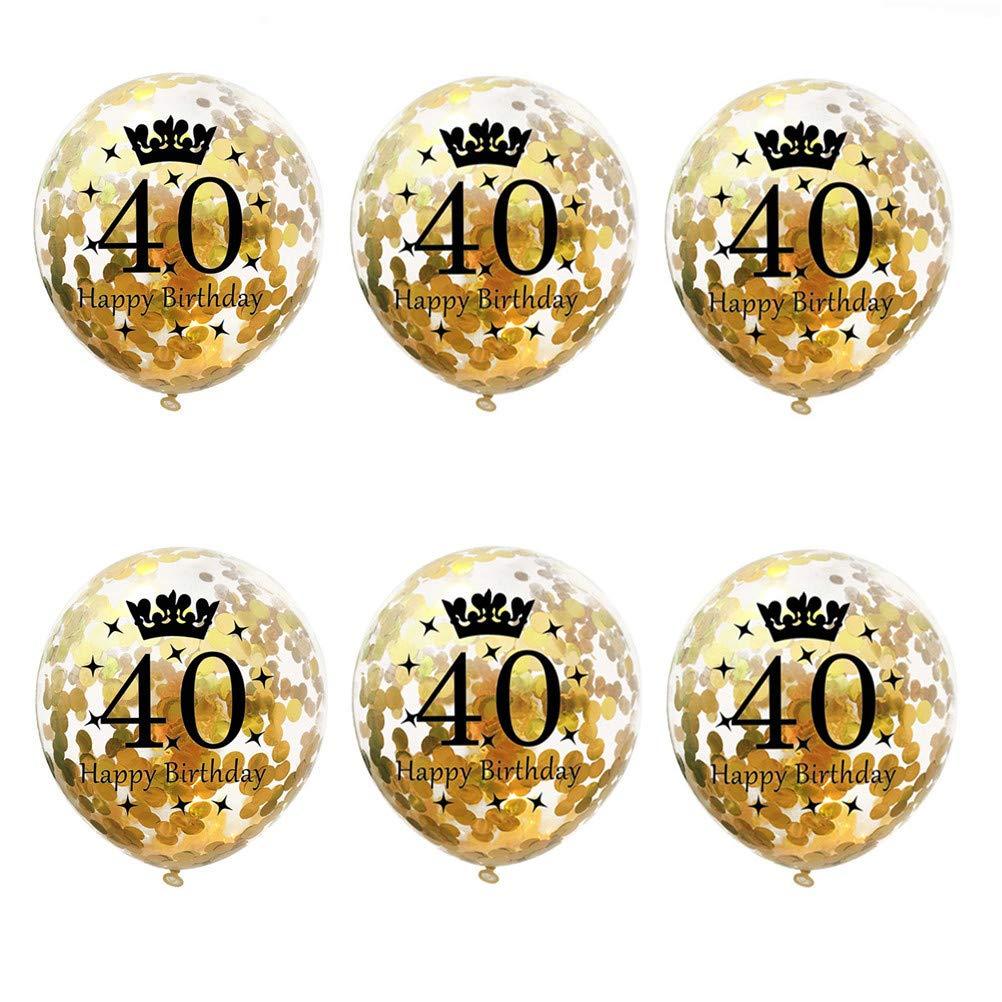 SUSHAFEN 6個 12インチ 40歳の誕生日 紙吹雪バルーン ハッピーバースデー 紙吹雪バルーン ゴールドスパンコールバルーン 誕生日パーティーバルーン あらゆる年齢のパーティー用品 パーティーの記念品   B07GNH3TSD
