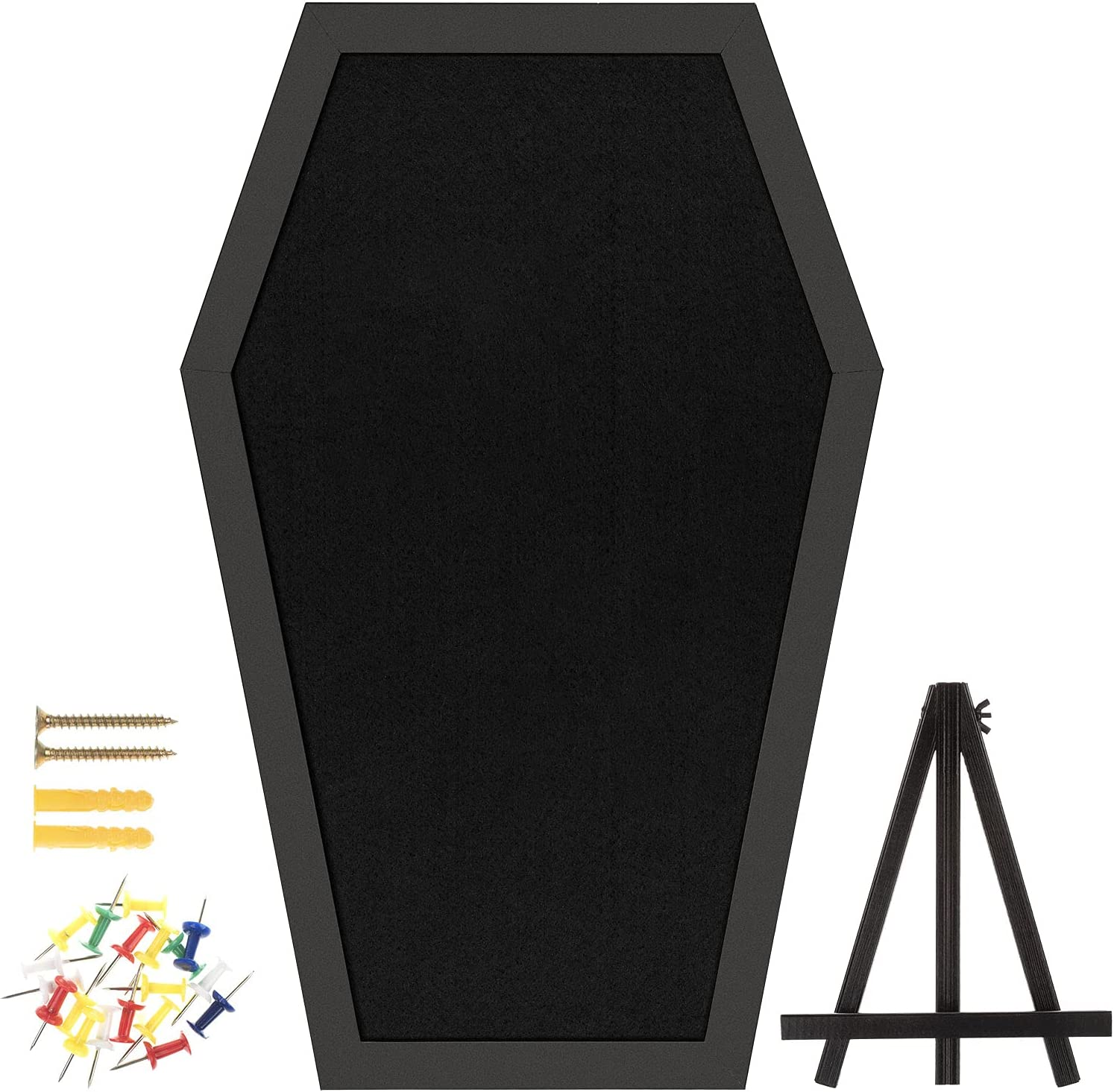 Gothvanity Coffin Pin Display Board - Wooden Felt Bulletin Board for Table Top or Wall - Gothic Decor for Home, Office and School - 17 x 11 Inches - Black