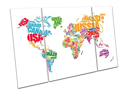 Print on Canvas white World Map word cloud typography Art