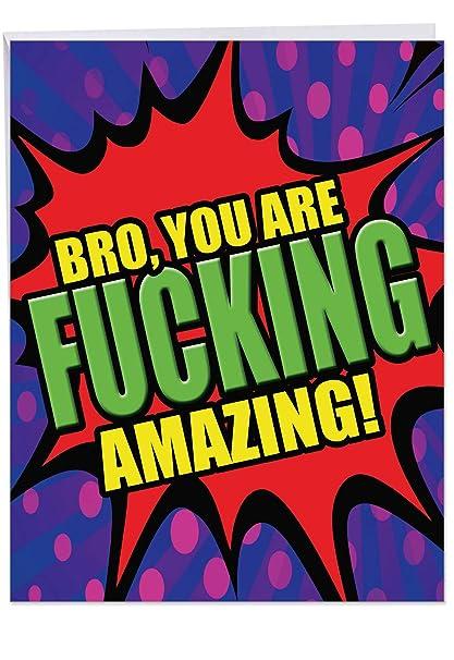Jumbo Hilarious Tarjeta de cumpleaños para hermanos: F-King ...