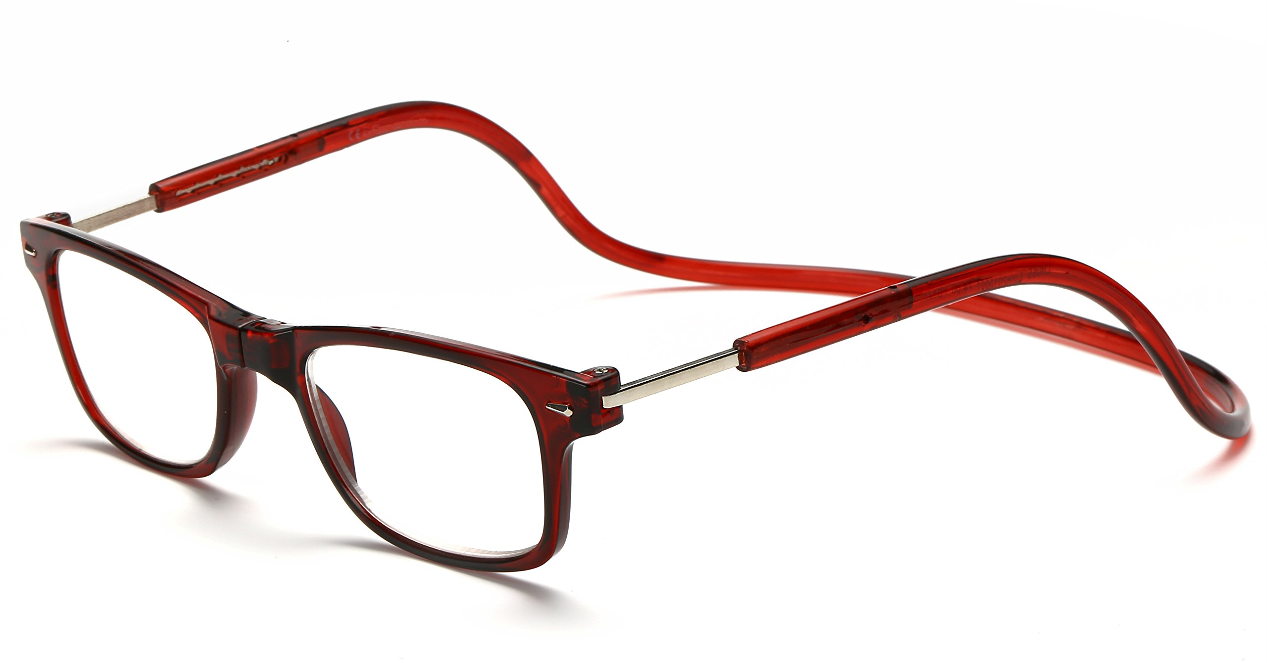 Adjustable Front Connect Reader Click Magnetic Reading Glasses Red 275