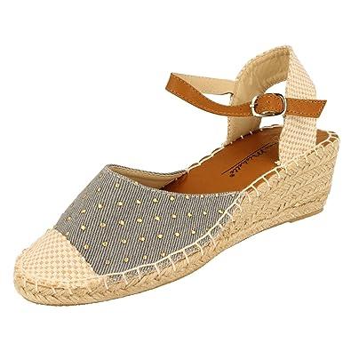 Anne Michelle Damen Denim Design Sandale mit Keilabsatz
