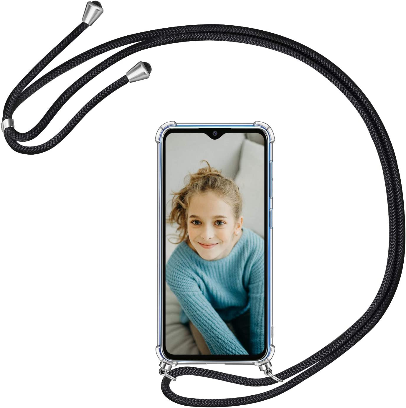 AROYI Funda con Cuerda para Xiaomi Redmi Note 8 Pro, Carcasa Transparente TPU Silicona Case con Colgante Ajustable Collar Correa de Cuello Cordón para Xiaomi Redmi Note 8 Pro, Negro