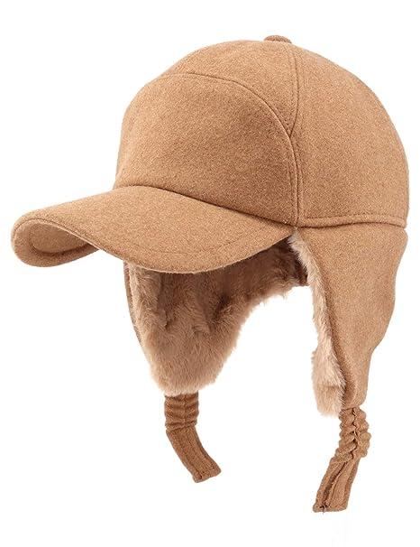 Gisdanchz Wool Hat Baseball Mens Earmuff Hat Baseball Cap Protection Winter  Visor Hats Winter Cap Earflaps 698bbdec7a56