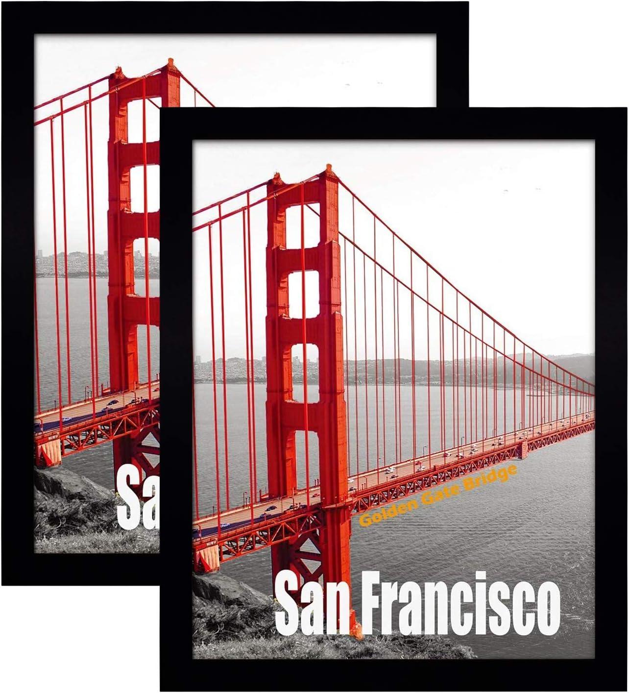 Frametory, Set of 2, 11X14 Pre-Assembled Black Poster Frame - Golden Gate Bridge Gallery Edition