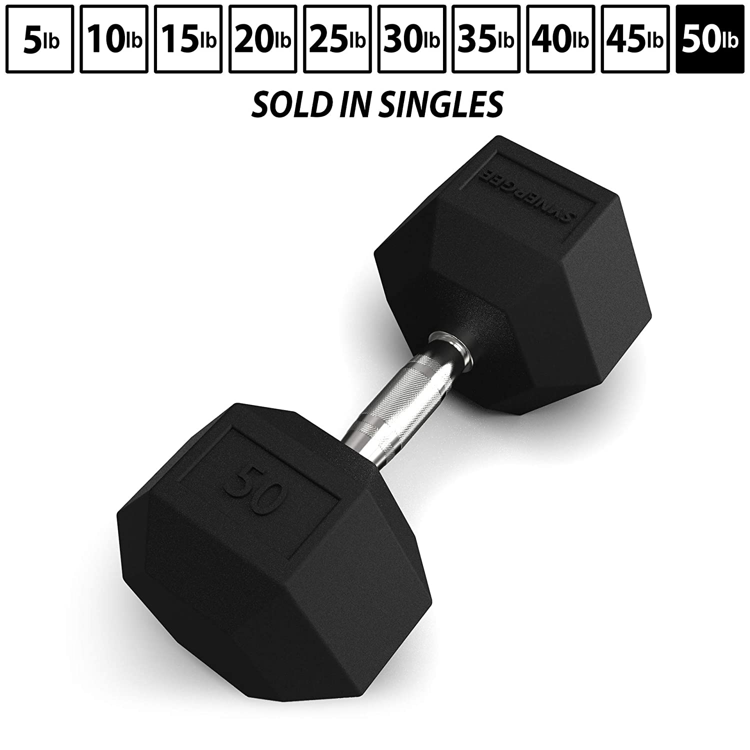 Synergee Rubber Encased Hex Dumbbells Chrome Handle Sold in Sets and Individually All Purpose Weights for Strength Conditioning Training – 5 lbs to 50 lbs in 5lb Increments