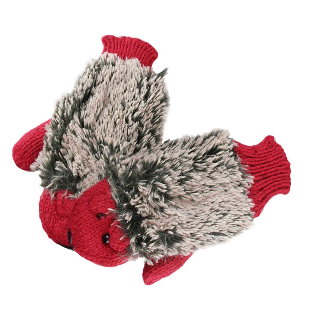 Cartoon hedgehog Women Girls Hand Warm Cute Animal Winter Knitted Gloves Mitten