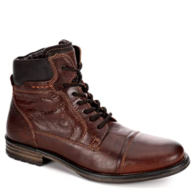 186c0db1711 AM Shoes Mens Leather Cap Toe Lace Up Work Boot Shoes