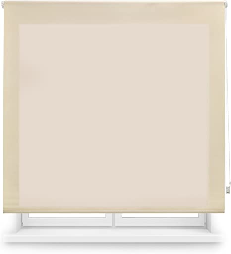 Blindecor Ara - Estor enrollable translúcido liso, Beige, 100 x ...