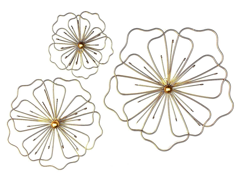 Bellaa 23271 Flower Metal Wall Decor Nature Floral Home Art Kitchen Gifts Light Bronze Set of 3