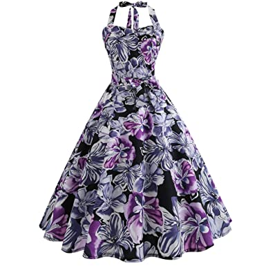 663341434a0 Women Vintage Printing Floral Bodycon A-line Sleeveless Halter Evening  Party Prom Swing Cocktail Dress Elegant at Amazon Women s Clothing store