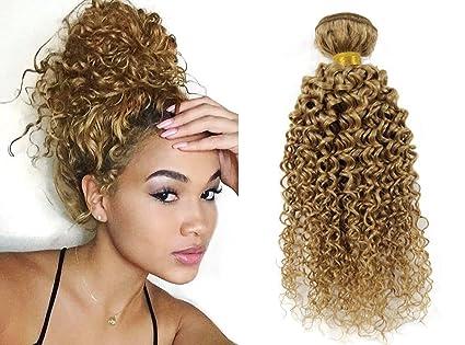 Greemeo Biondo Extension Capelli Veri Ricci Tessitura 100% Remy Virgin Human  Hair Kinky Curly Weft Matassa 1 Bundle 100g (10 Pollice 25cm a8ffa73c3ce5
