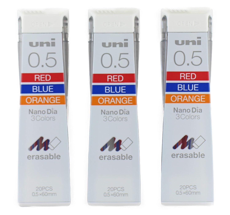 Uni シャープペンシル替え芯 ナノ直径0.5mm カラーレッド ブルー オレンジ 3色 20本 x 3パック (合計60本) 日本の文房具オリジナルパッケージ (0.5-202NDC.3色) B07GGQ4N5M