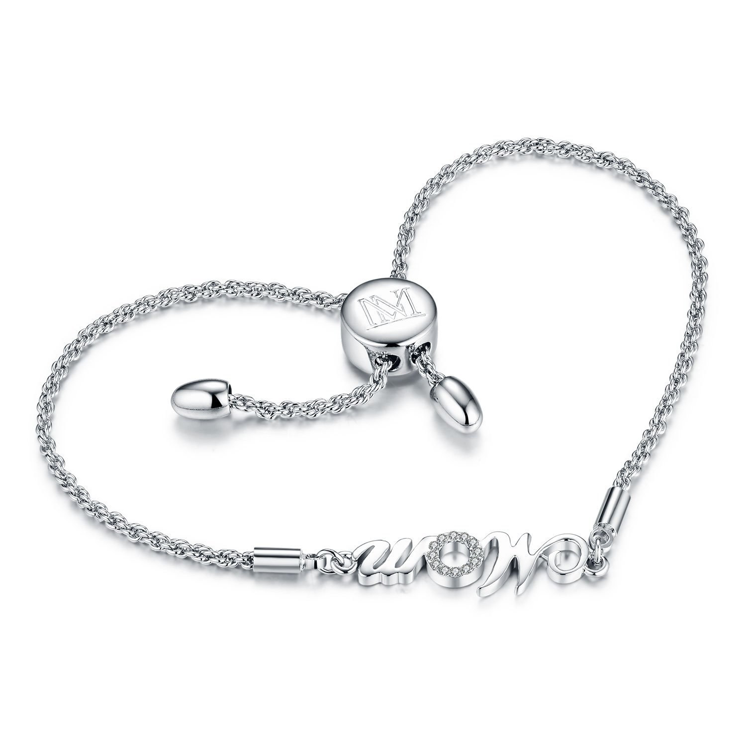"NINAMAID ""Mom"" Charm Expandable Bolo Bracelet with Cubic Zirconia Adjustable White Gold Plated Copper Jewelry Gift for Mother by NINAMAID (Image #2)"