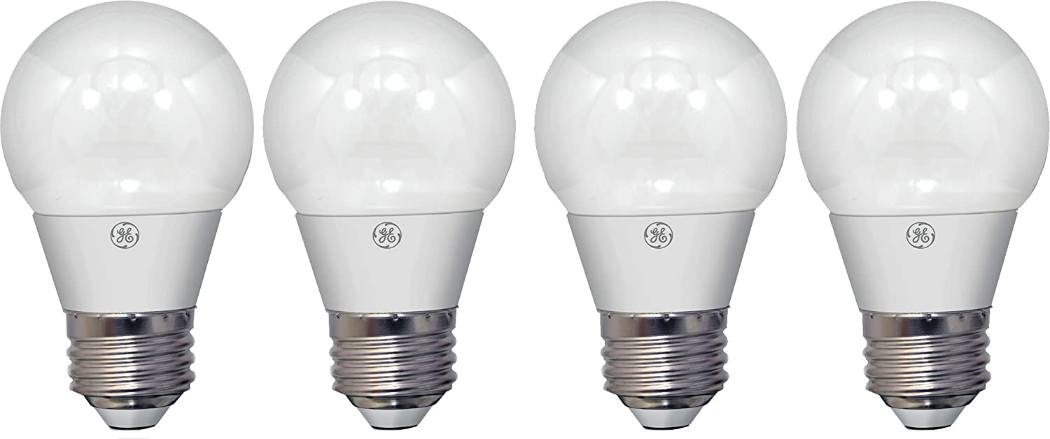 GE Lighting 37637 LED A15 Ceiling Fan Bulb with Medium Base, 4-Watt, Soft White, 4-Pack, Standard, Frosted Piece