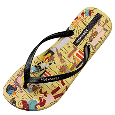 20d2c7467 Hotmarzz Women s Fashion Flat Flip Flops Tribes Print Summer Beach Slippers  Thong Sandals Size 4