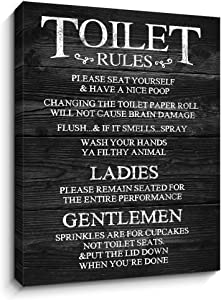 Toilet Rules Signs Canvas Wall Art Funny Rustic Farmhouse Bathroom Decor | Wood Grain Background HD Printing on Canvas | Vintage Plaque Quote Wall Decoration (12X15 Inch,Black)