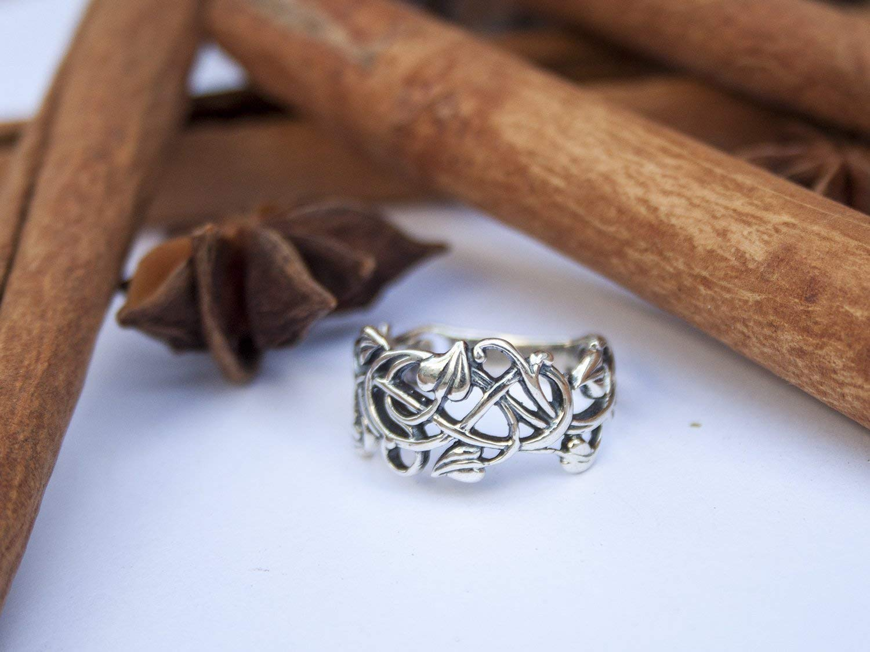 Sterling Silver Filigree Vintage style Rings for Women Swirl Vine Leaf Ring Elvish Elf Floral Jewelry